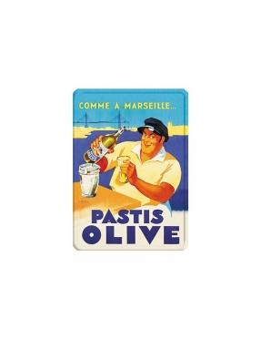 Plaque métal Pastis Olive - Marseille
